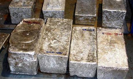 Silberbarren von der Sant Bartolome-Mine von Coeur D'Alene