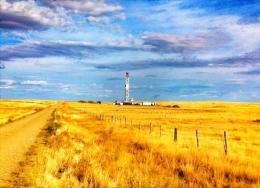 Bohrturm auf einem Projekt der Hemisphere Energy; Foto: Hemisphere Energy