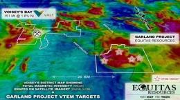 Karte mit neu entdeckten Nickel- und Kupferzielen auf der Garland-Liegenschaft von Equitas Resources; Foto: Equitas Resources