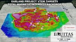 Karte der neu entdeckten Nickel- und Kupferziele auf der Garland-Liegenschaft; Grafik: Equitas Resources