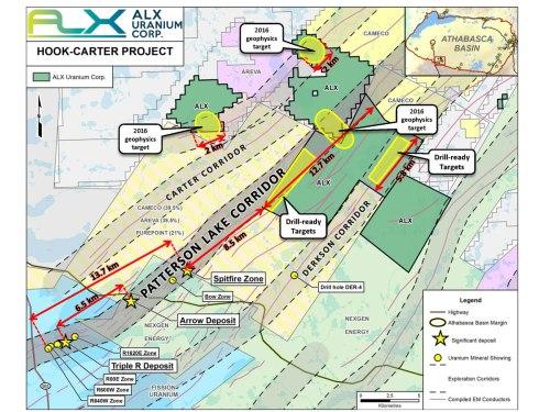 Übersichtskarte der Hook-Carter-Liegenschaft; Quelle: ALX Uranium