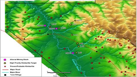 Lage der vorrangigen Kimberlitbohrziele auf Lulo; Quelle: Lucapa Diamond