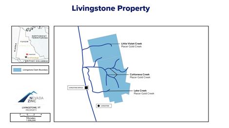 Karte der goldführende Bäche auf Livingstone; Quelle: Nevada Zinc