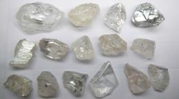 """Auswahl """"spezieller Diamanten aus der Produktion des Dezemberquartals; Foto: Lucapa Diamond"""